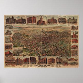 Mapa ilustrado del vintage de Los Ángeles (1891) Poster