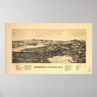 Mapa ilustrado del vintage de Meredith NH (1899) Póster