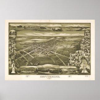 Mapa ilustrado del vintage de PA de Gettysburg Póster