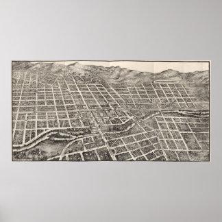 Mapa ilustrado del vintage de Reno Nevada (1907) Póster