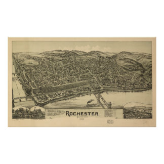 Mapa ilustrado del vintage de Rochester PA (1900) Póster
