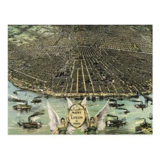 Mapa ilustrado del vintage de St. Louis (1896) Postal