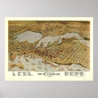 Mapa ilustrado del vintage de Vancouver A.C. Póster
