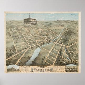 Mapa ilustrado del vintage de Waukesha Wisconsin Póster