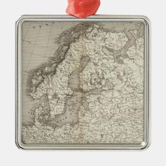 Mapa incoloro de Europa Adorno Navideño Cuadrado De Metal