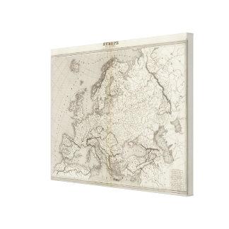 Mapa incoloro de Europa Impresión En Lienzo