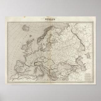 Mapa incoloro de Europa Póster
