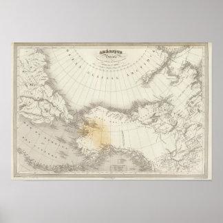 Mapa incoloro de Norteamérica Póster