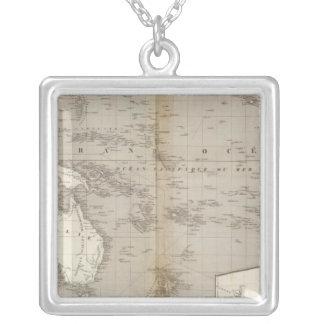 Mapa incoloro de Oceanía Collar Plateado