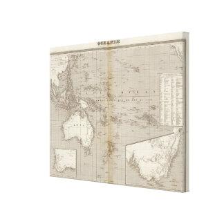 Mapa incoloro de Oceanía Impresión En Lienzo