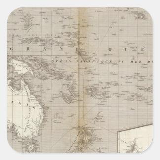 Mapa incoloro de Oceanía Pegatina Cuadrada