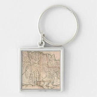 MAPA: JAMAICA, 1755 2 LLAVERO CUADRADO PLATEADO