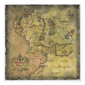 Mapa medio de la tierra póster