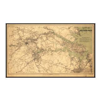 Mapa militar de Virginia del sudeste (1864) Impresión En Lienzo