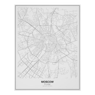 Mapa minimalista de Moscú, Rusia Póster