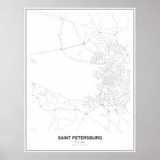 Mapa minimalista de St Petersburg, Rusia Póster
