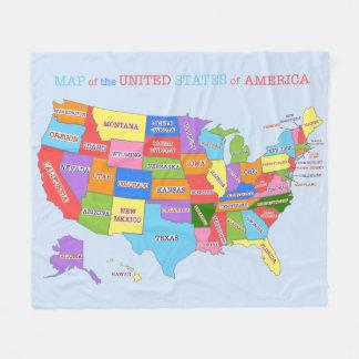 Mapa multicolor de los Estados Unidos Manta Polar