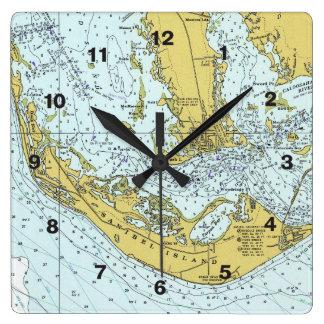 Mapa náutico de Captiva de la isla de Sanibel Reloj Cuadrado
