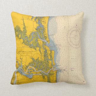 Mapa náutico de la carta de Amelia Island la Cojín Decorativo