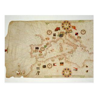 Mapa náutico miniatura del Mediterranea central Postal