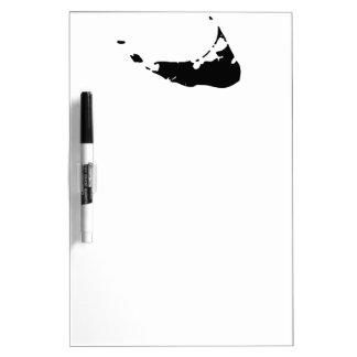 Mapa negro de la isla de Nantucket Pizarra Blanca