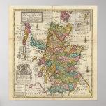 Mapa nuevo y correcto de Escocia y de las islas Poster