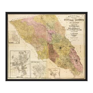 Mapa oficial del condado de Sonoma, California Impresión En Lienzo