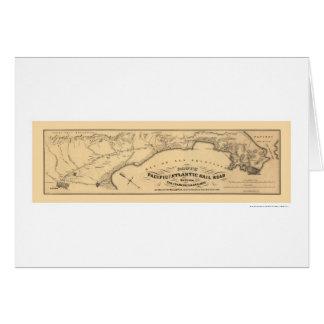 Mapa pacífico y atlántico 1851 del ferrocarril tarjeta de felicitación