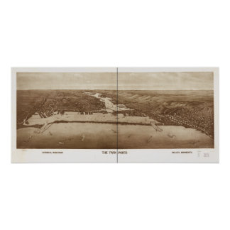 Mapa panorámico antiguo 1915 Duluth-Superiores Poster