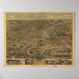 Mapa panorámico antiguo de Akron Ohio 1870 Impresiones