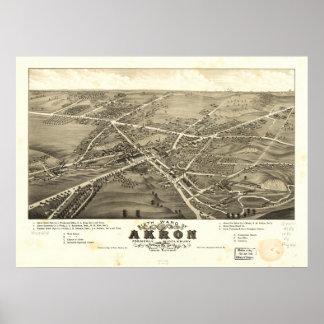 Mapa panorámico antiguo de Akron Ohio 1882 Posters