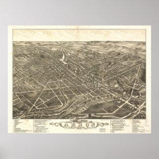 Mapa panorámico antiguo de Akron Ohio 1882 Poster