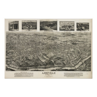 Mapa panorámico antiguo de Asheville N. Carolina 1 Posters