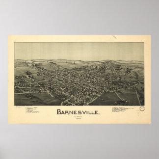 Mapa panorámico antiguo de Barnesville Ohio 1899 Poster
