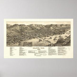 Mapa panorámico antiguo de Bellaire Ohio 1882 Póster