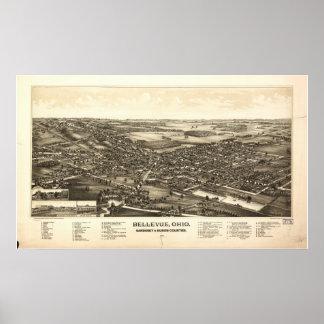 Mapa panorámico antiguo de Bellevue Ohio 1888 Posters
