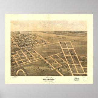 Mapa panorámico antiguo de Brookfield Missouri 186 Posters