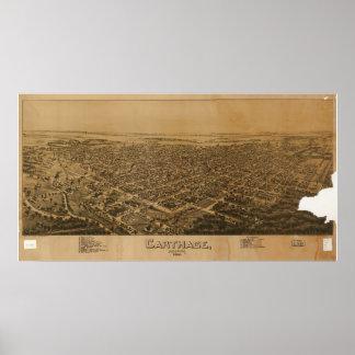 Mapa panorámico antiguo de Cartago Missouri 1891 Poster