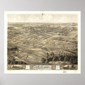 Mapa panorámico antiguo de Chillicothe Missouri 18 Posters