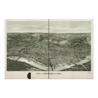 Mapa panorámico antiguo de Cincinnati Ohio 1900 Impresiones