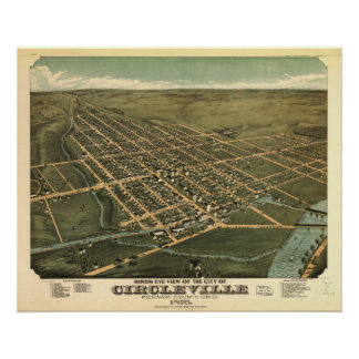 Mapa panorámico antiguo de Circleville Ohio 1876 Posters