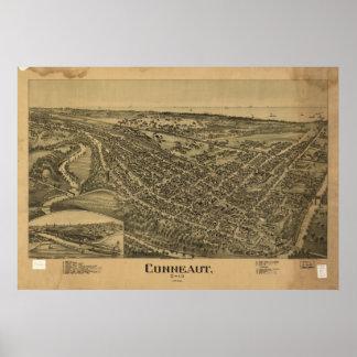 Mapa panorámico antiguo de Conneaut Ohio 1896 Impresiones