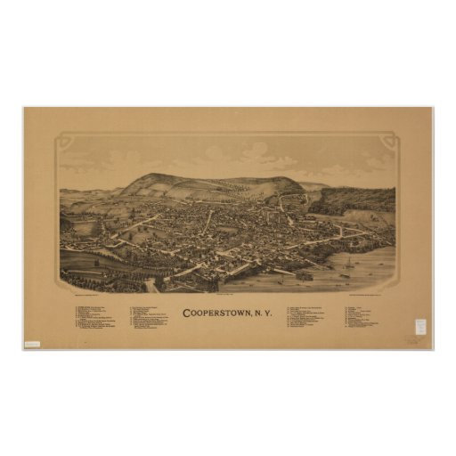 Mapa panorámico antiguo de Cooperstown Nueva York  Poster