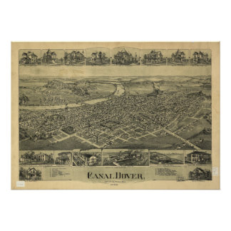 Mapa panorámico antiguo de Dover Ohio 1899 Poster