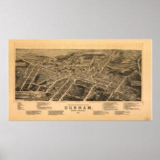 Mapa panorámico antiguo de Durham N. Carolina 1891 Posters
