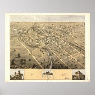 Mapa panorámico antiguo de Elyria Ohio 1868 Posters