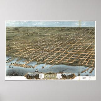 Mapa panorámico antiguo de Erie Pennsylvania 1870 Póster
