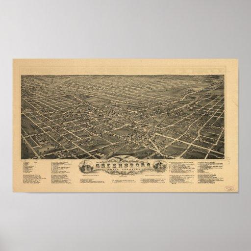 Mapa panorámico antiguo de Greensboro N. Carolina Posters
