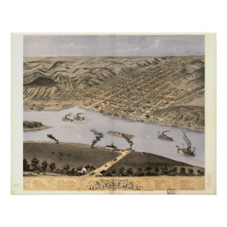 Mapa panorámico antiguo de Hannibal Missouri 1869 Póster