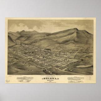 Mapa panorámico antiguo de Helena Montana 1875 Impresiones